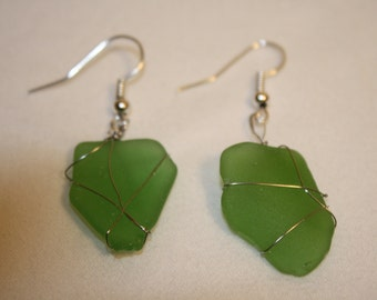 Light Green Sea Glass Earrings