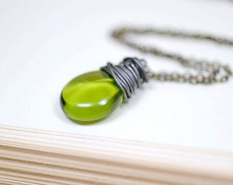 Moss Green Necklace, Oxidized Sterling Silver Chain, Simple Wire Wrap Briolette, Olive Green and Black Earthy Boho Jewelry