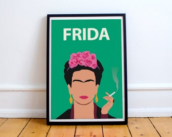 Frida Kahlo Poster Print / Wall Art, Frida Art, Frida Portrait, Retro Art, Colourful, Minimalist, Feminist