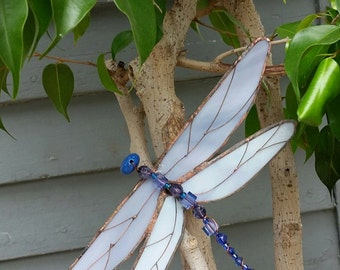 stained glass dragonfly on driftwood