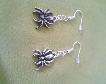 Spider Drop Earrings - 925 Sterling Silver & Silver Plated.