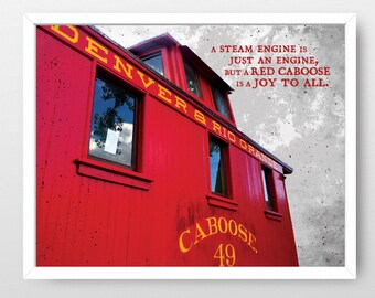 Red Caboose - Train Wall Art