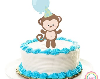 Baby shower cake topper monkey, animal safari, personalized printed party decorations, boy cake supplies, party favors, centerpiece - 24
