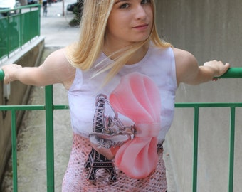 Eiffel Tower Print Tank Top | Simple White Top | Essential Pink Top by Silvia Monetti
