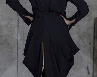 Amphora Black Evening Dress | Full Slit Sleeve | Zip Dress | Back Zip Dress | Scoop Neck Dress by Silvia Monetti