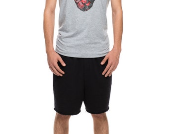 V-neck t-shirt with cat print gray