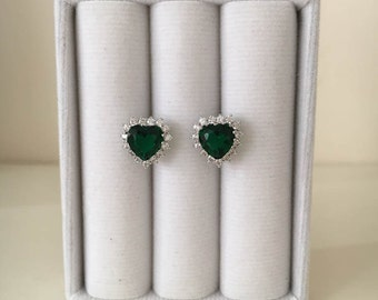 Emerald Earrings, Heart Earrings, Stud Earrings, Stud Earring Set, White Gold Earrings, White Gold Emerald Earrings