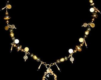 Brass Coin Black Sardonyx Necklace Pendant One of a Kind/Jasper/Labradorite/Hand Hammered/Gift/Roman/Grecian/Jewelry