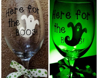 SALE, Here for the boos wine glass, Halloween wine glass, Halloween party, Halloween glass, Halloween cup, Halloween decor