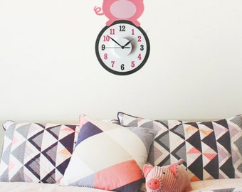 Pablo the pig wall decal clock    pig clock    animal wall decal    nursery wall art    pig sticker    baby shower gift    wall decal