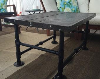 Coffee Table: Reclaimed Pennsylvania Barn Wood Flooring, Black Steel Pipe Legs