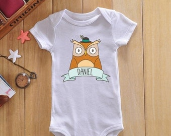 Owl onesie, custom baby onesie, personalized baby clothes, personalized baby gift, custom baby name, custom baby bodysuit, custom baby gift