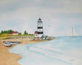 Lighthouse and Sailboats, Realistic watercolor painting of lighthouse, sailboats, and rowboats.