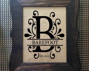 Framed Burlap Sign, custom, pineapple,welcome, monogram