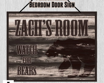 Personalized Bedroom Door Sign - Watch for Bears