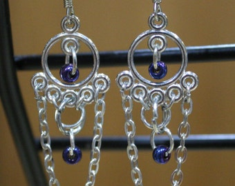 Art Deco-Inspired Circle and Chain link Chandelier Earrings with Purple Glass Beads/ Silver Chandelier Earrings with chain and beads