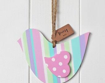 Sweet Hand Painted Striped & Polka Dot Wooden Bird
