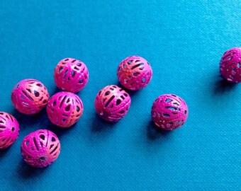 Pink enamel bead - pack of 10
