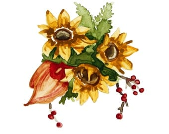 Sunflower Bouquet, Photographic Print of Original Watercolor