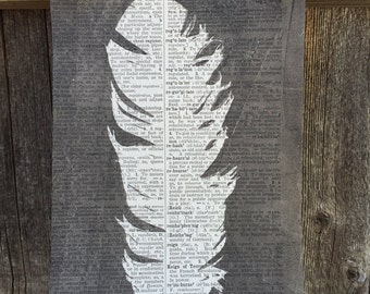 Vintage Dictionary Paper Feather #13