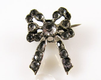 Charming Antique Georgian Silver and Paste Bow Brooch/Pin