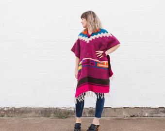Handmade Vintage Wool Poncho w/ Fringe, Women's Clothing, Mexican Poncho, Tribal Serape Poncho, Boho Poncho, Vintage Mexican Poncho, Winter