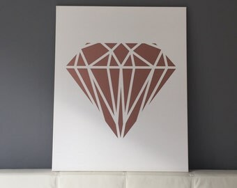 Rosé Gold Diamond for the wall on canvas