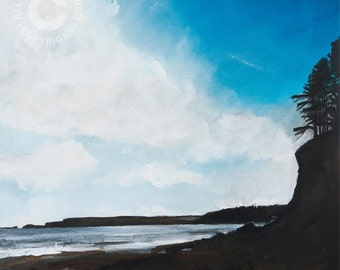 Print of Dads Cliff, Amroth (Pembrokeshire), original artwork, giclee print, mounted print, Wales, beach, Welsh coast, souvenir
