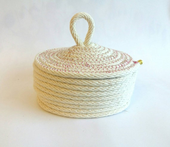 Basket rope of cotton with pink details - silver