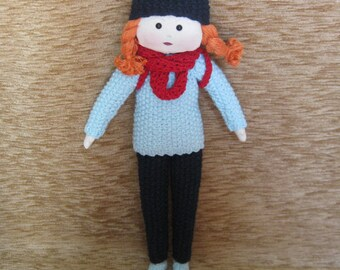 Doll. Knitted doll. Stitched doll with your own hands.