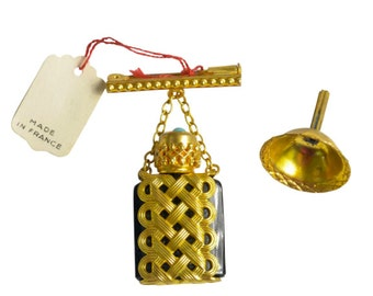 Victorian Glass Gilt Perfume Bottle Filigree Pin with Funnel, Made in France