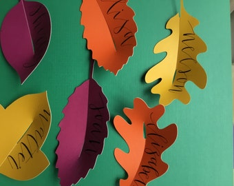 Handmade 3d leaf place card or tag