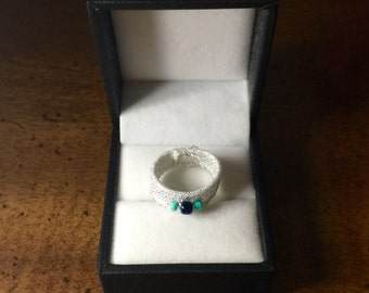 Frosted ring with beads, rings, beads, fashion rings, prom accessories, date night, New Years Eve, Christmas, teens, gifts for her
