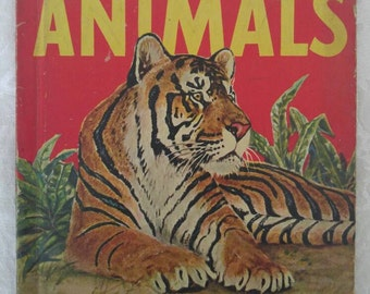 Vintage Children's Book: Wild Animals ~ Kids Book About Animals ~ 1950's