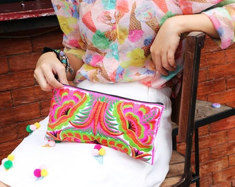 Pretty Flower Clutch With Embroidered Fabric