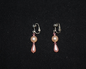 Pink Pearl and Crystal Clip On Earrings