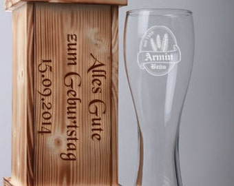 Wheat set with engraving - a wheat beer glass in a wooden box with fine engraving