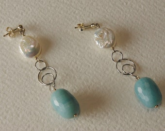 Earrings in Amazonite and Silver 925 pearls,%