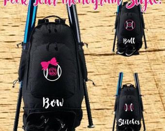Embroidered Monogram Expandable Bat Bag, Baseball Bag, Softball Gift, Softball Bag, Bat Bag