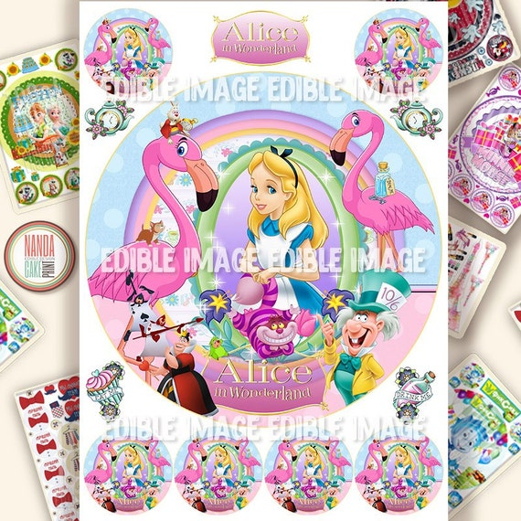 Edible Cake Decorations Alice In Wonderland : Alice in Wonderland edible cake decorations Icing personalised