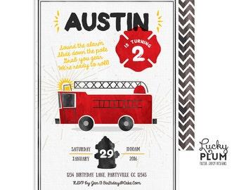 Firetruck Birthday Invite / Fire Engine Birthday Invite / First Birthday Invite / Boy Birthday Invite / Watercolor Firetruck