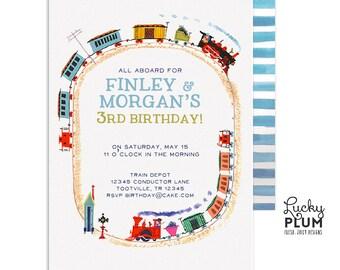 Train Birthday Invitation / Vintage Train Invitation / Golden Book Invitation / Transportation Birthday Invitation / First Birthday