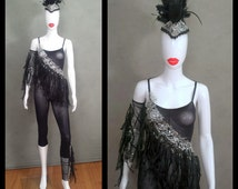 READY TO SHIP Size Small/ Medium Sheer Black Bodysuit with Silver Sequin Mesh Trim and Black Fringe / Matching Mohawk Feather Headpiece