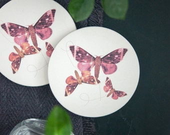 Butterfly Art Coaster Set of 2, Housewarming Gift, Hostess Gift, Home Decor, Interior Design, Ceramic, Round Coaster, Pink, Illustration