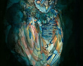 Owl art print - Watercolor and ink Archival Owl Print in Dark Colors Black Blue Mysterious Great Grey Owl Amber 8x10 5x7