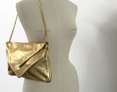 Double Envelope Clutch Cross Body  - Metallic Gold Recycled Leather
