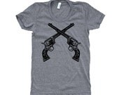 Vintage Crossed Revolver Pistol T-Shirt - Ladies SOFT American Apparel Shirt - Available in sizes S, M, L, XL