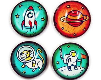 astronaut magnet set saturn nasa Outer Space Decor, Space Monkey Magnets - Galaxy Decor - Space Magnet Set - Astronaut Solar System