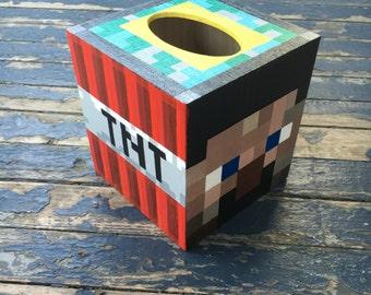Minecraft Tissue Box Holder Hand Painted