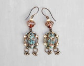 Tribal Mask Earrings - handpainted vintage charms with rhinestones and faceted glass - oxidized brass earwires